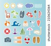 summer icons set.vector | Shutterstock .eps vector #210624364