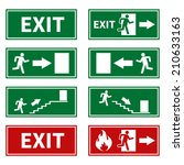 emergency fire exit signs | Shutterstock .eps vector #210633163