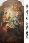 """Small photo of BRUGES, BELGIUM - JUNE 12, 2014: The paint of """"Verheerlijking van H. Sacrament"""" - Glorification of the holy sacrament by van J. Garemijn, (ca. 1740)"""