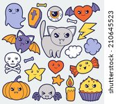 set of halloween kawaii cute... | Shutterstock .eps vector #210645523