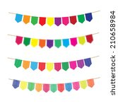 colorful bunting and garland... | Shutterstock .eps vector #210658984