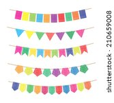 colorful bunting and garland... | Shutterstock .eps vector #210659008