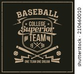college baseball team emblem... | Shutterstock .eps vector #210660010
