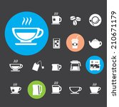 coffee cup and tea cup icon set | Shutterstock .eps vector #210671179