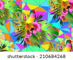 Color Tropical Flowers And...