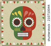 mexican styled frame with skull ... | Shutterstock .eps vector #210710044