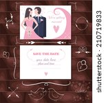 we're getting married. save the ... | Shutterstock .eps vector #210719833