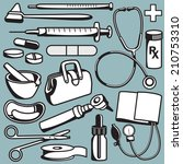 set of medical objects and... | Shutterstock .eps vector #210753310