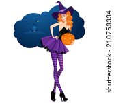 Beautiful Witch With A  Pumpki...