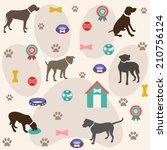 seamless dogs pattern   Shutterstock .eps vector #210756124