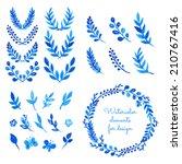 set of watercolor wreaths ...   Shutterstock .eps vector #210767416