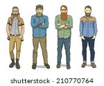 young casual hipster guys... | Shutterstock .eps vector #210770764