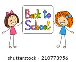 cute kids with school message | Shutterstock .eps vector #210773956