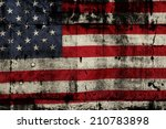 closeup of grunge american flag | Shutterstock . vector #210783898
