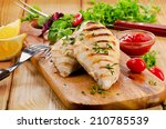grilled chicken breast with... | Shutterstock . vector #210785539