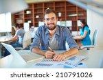 handsome businessman in casual... | Shutterstock . vector #210791026
