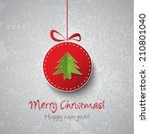 christmas ball decoration | Shutterstock .eps vector #210801040
