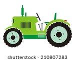 Tractor  Green Color  Vector...