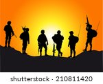 Soldiers Silhouettes Against A...