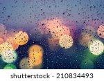 Drops Of Rain On Window With...
