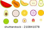 cute half fruits | Shutterstock .eps vector #210841078