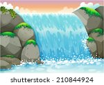 Illustration Of A Waterfall...