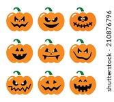 halloween pumpkin vector icons... | Shutterstock .eps vector #210876796