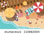summer beach in flat design ... | Shutterstock .eps vector #210882004