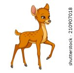 Cute Deer Fawn Cartoon Vector...