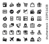 set of black flat icons about... | Shutterstock .eps vector #210911638