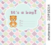 baby boy arrival card. baby... | Shutterstock .eps vector #210918214