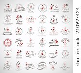 snowman elements set   isolated ... | Shutterstock .eps vector #210927424