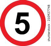 5 speed limitation road sign on ... | Shutterstock . vector #210927748