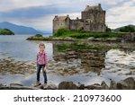 adorable kid girl on the scenic ... | Shutterstock . vector #210973600