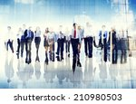 Stock photo group of business people walking forward 210980503
