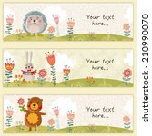 three cute kids banners with... | Shutterstock .eps vector #210990070