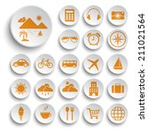 travel and tourism icons set.... | Shutterstock .eps vector #211021564