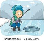 illustration of a man fishing... | Shutterstock .eps vector #211022398