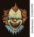 Killer Clown Head - stock vector