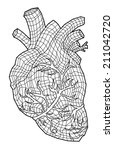 abstract human heart  vector... | Shutterstock .eps vector #211042720