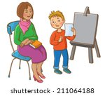 little boy representing his... | Shutterstock .eps vector #211064188