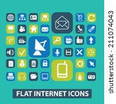 flat internet  website icons ...