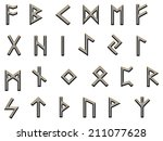 set of runes  the old germanic... | Shutterstock . vector #211077628