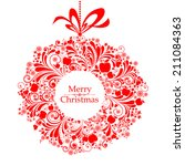 christmas greeting card.... | Shutterstock .eps vector #211084363