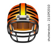 orange american football helmet ...