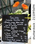 chalkboard wine menu by the glass or by a bottle in France - stock photo