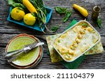 Stock photo vegetable lasagna with spinach and yellow zucchini 211104379