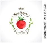 watercolor vegetables. tomatoes.... | Shutterstock .eps vector #211114060