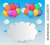 balloons cloud and birds on... | Shutterstock .eps vector #211120270