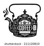 Vintage Cafe Menu With A Teapo...
